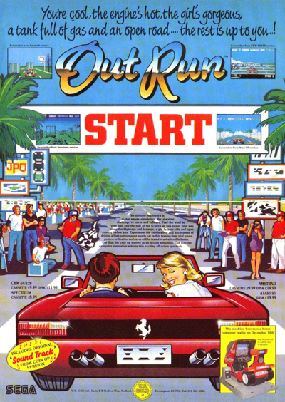 An arcade ad for Out Run.